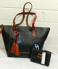 NWT DOONEY & BOURKE OSTRICH BLACK LEATHER MAXINE TOTE PURSE & TRIFOLD WALLET