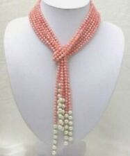 50 inch 4mm Pink Coral Freshwater Pearl Necklace AAA