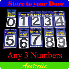 3 x House Numbers, Street Number, Letterbox Numerals, B&W - Self Adhesive