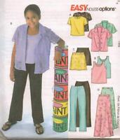 McCall's 4498 Girls' Shirt, Top, Skirt and Pants  7, 8, 10   Sewing Pattern