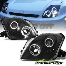 [Dual LED Halo]1997 1998 1999 2000 2001 Honda Prelude Projector Black Headlights