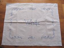 Altes Handbestickte Ziertuch Wäsche für Wäschekorb Stickerei blau 84 x 64 cm BS.