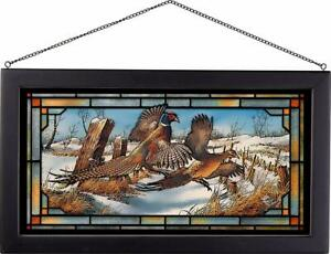 Terry Redlin Clearing the Rail Pheasants Framed Stained Glass Window Panel