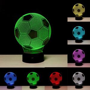 3D LED Illusion Night Light 7 Colours Desk Bedside Lamp Soccer Ball Football