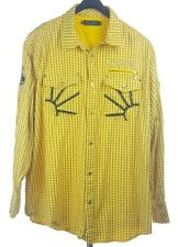 COOGI Mens Yellow Check L/S Button-Down Shirt 3XL Crest