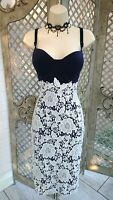 🌹GIRL IN MIND 🌹SEXY NAVY LACE STRETCH WIGGLE PENCIL COCKTAIL DRESS 12 WEDDING