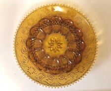 INDIANA TIARA SANDWICH GLASS AMBER Serving Deviled Egg Plate Platter..Mint!!