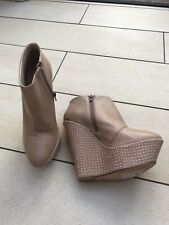 1f49cce094cd TOPSHOP PREMIUM Leather Nude Zip Up High Platform Stud Heel Ankle Boots 7