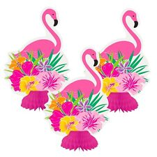 Unique Luau Flamingo Flower Mini Honeycomb Party Decorations - 3 Pack