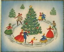 New listing VINTAGE CHRISTMAS VICTORIAN COSTUME ICE SKATERS SKATING TREE ORNAMENTS ART CARD