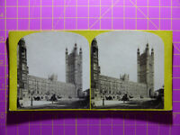 Antique Stereoscope Photograph - Houses of Parliament, London - Stereoview c19th