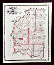 1876 Indiana Map - Daviess County - Washington Afordsville Clarksburg Glendale