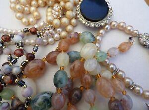 Vintage Broken Jewellery Pearl Beaded Necklaces Brooches Earrings Bracelet