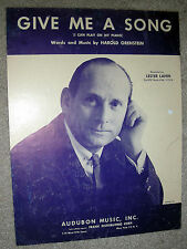 1962 GIVE ME A SONG (I Can Play on My Piano) Sheet Music LESTER LANIN, Orenstein