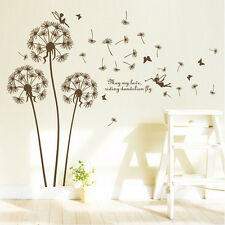 DIY Dandelion Fly Wall Stickers Transparent Home Decor Art Decal new