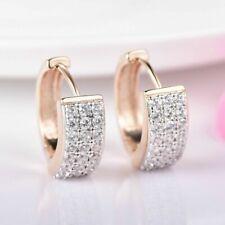 18K Yellow Gold Diamond Hoop Earrings 210A