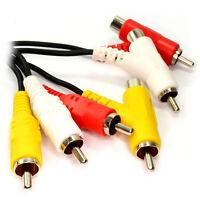 2m TRIPLE 3 Phono STACKABLE SPLITTER Cable Lead Audio Composite Video RCA AV OFC