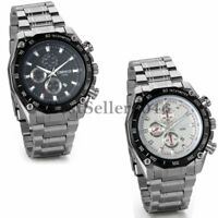 Fashion Stainless Steel Band Luxury Sport Date Analog Quartz Mens Wrist Watch