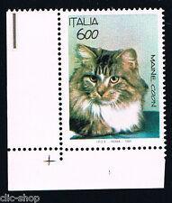 ITALIA IL FRANCOBOLLO ANIMALI GATTO MAINE COON 1993 nuovo**