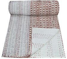 Indian Cotton Kantha Quilt Throw Blanket Bedspread Vintage Throw Hand Block