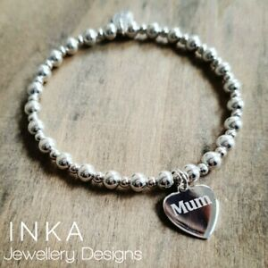 Inka 925 Sterling Silver 5mm beaded Stacking Bracelet with Mum Heart charm