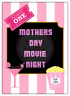 Mothers Day Movie Night Large Rectangle Stickers Letterbox Party Bag Sweet Box