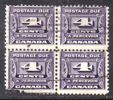 CANADA POSTAGE DUE #J13 4c DARK VIOLET, 1933 BLOCK/4, VG, USED