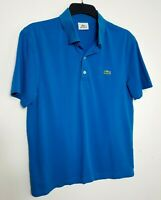 LACOSTE SPORT MENS POLO SHIRT TOP M (4) DARK EMERALD BLUE SHORT SLEEVE 327