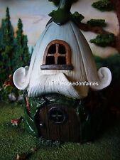 White Roof House w LED Lights Miniature Fairy Faerie Gnome Hobbit Garden FA55