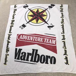 Vintage Marlboro Adventure Team Spell Out Compass Beach Bath Towel 90s White