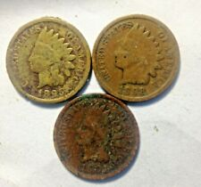 18951898-1901 Indian Head Cents Circulated Good Dates Vintage Us Coins