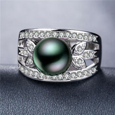 Elegant 925 Silver Jewelry Round Cut Black Pearl Women Wedding Ring Size 8