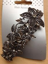 Eine Große Silber Antike Optik Blumenmuster Metall Haarspange
