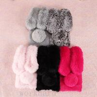 Luxury Bling Diamond Bunny Rabbit Fur Plush Fuzzy Fluffy Soft Phone Case Cover
