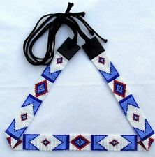 BILLY JACK INSPIRED STYLE BLUE WHITE HATBAND HANDMADE BEAD WORK H44/1