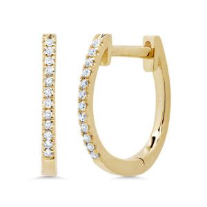 0.08CT 14K Yellow Gold Natural Round Cut Diamond Oval Huggie Hoop Earrings