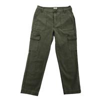 J. Crew Women's Cargo Pants Size 27 Mid-Rise Olive Green Straight Leg Pockets