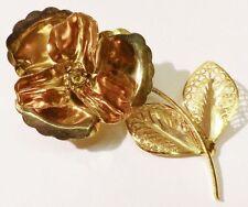 broche fleur bijou vintage la rose finement travaillé en relief couleur or A 07
