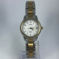 Timex Womens T25771 Indiglo Two Tone Stainless Steel Band Date Indicator Watch