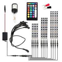 12pcs/set Motorcycle RGB LED Strip Kit RF+Voice Control Underglow Lights