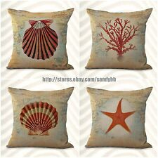 US Seller-4pcs cheap home decor items cushion covers marine jelly fish scallop