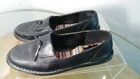 Eurostep Loafers Women's Size 8.5 W Black Leather Slip On Shoes Euro 39 UK 6.5
