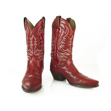 Tony Mora Red Leather White Stitch Cowboy Western Pull On Boots Shoes sz 37
