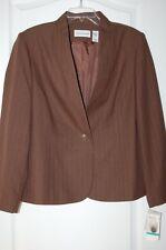 Women's 16 brown jacket suit coat blazer pinstripe alfred dunner