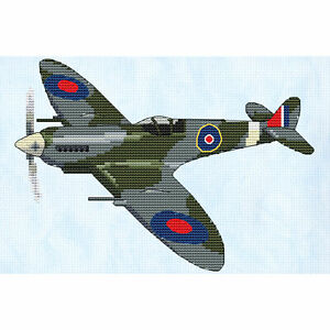 """Spitfire Cross Stitch Design (W204mm x H140mm (W8"""" x H5.5""""), kit or chart)"""