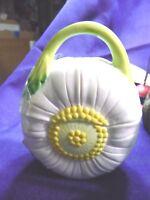 Trinket Box Porcelain Lefton China 1984 Signed Daisy w Handle 04095 VINTAGE