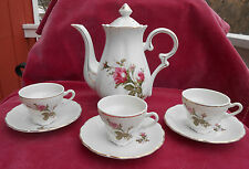 MOSS ROSE COFFEE POT SERVER DEMITASSE CUP 8 PC PORCELAIN CHINA JAPAN VINTAGE