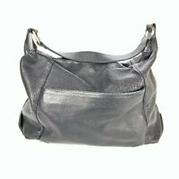Furla Black Pebbled Leather Large Shoulder Bag Tote Hobo Purse Made in Italy