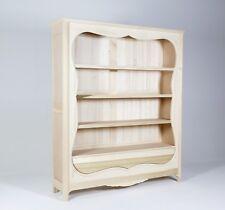 Grande libreria a giorno stile Francese sagomata in legno al grezzo in legno New
