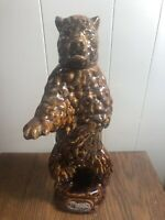 """Vintage 1968 EZRA BROOKS Standing Grizzly Bear Whiskey Decanter  13.5"""""""